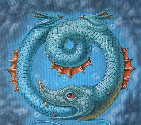 Ouroboros, le serpent, qui se mord la queue
